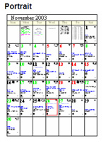 Portrait astrological calendar orientation